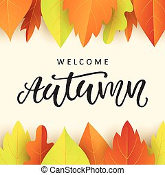 Welcome banner with golden leaves welcome autumn banner welcome autumn banner template with fall leaves pronofoot35fo Gallery
