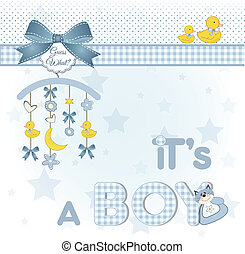 welcome baby announcement card, vector illustration