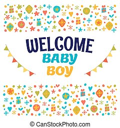 Welcome baby boy. Baby boy shower card. Baby boy arrival postcard. Baby shower greeting card