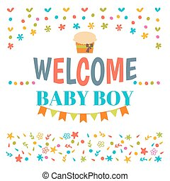 Welcome baby boy shower card. Arrival card. Announcement card. Cute postcard