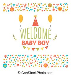 Welcome baby boy shower card. Arrival card. Cute postcard. Announcement card