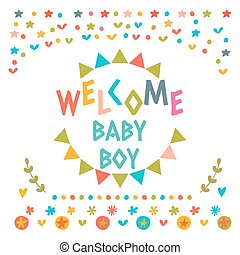 Welcome baby boy shower card. Cute postcard with decorative elements. Arrival card