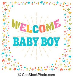 Welcome baby boy shower card. Cute postcard. Arrival card