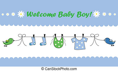 Welcome Baby Boy - Welcome home blue baby boy announcement