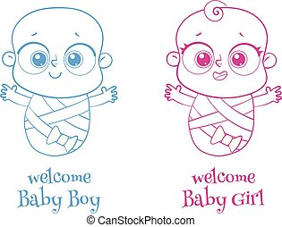 Welcome baby. Invite Greeting card it is a boy or a girl. Logotype