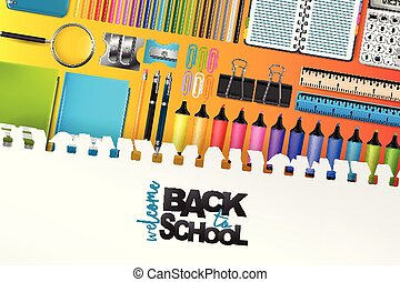 Welcome back to school background with colorful stationery for kids. Vector illustration.