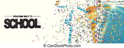 Welcome back to school banner design concept with ring notebooks and colorful confetti. Vector illustration.