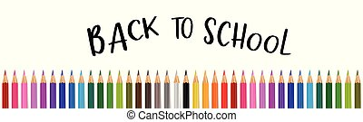 Welcome back to school banner with colorful pencils. Vector illustration.