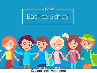 Welcome Back to School Banner with Kids Vector