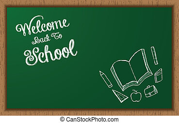 Welcome Back To School BlackBoard With Doodles
