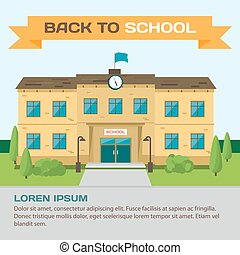 Welcome back to school. Building in park on the background of the city. Flat cartoon style vector background for poster, card, banner