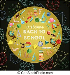 Welcome back to school colorful background