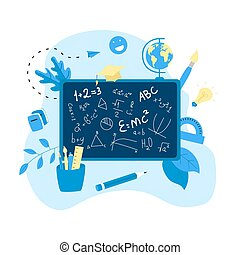 Welcome back to school concept. School board with formula.