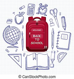 Welcome back to school concept. Schoolbag with the set of doodle icons of school supplies. Vector illustration