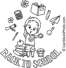 Welcome back to school. Cute school kid ready to education.