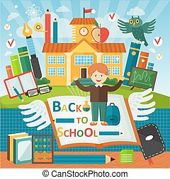 Welcome back to school. Cute school kid template banner. Boy pupil and study equipment near school building. Cartoon vector illustration.