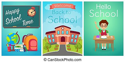 Welcome back to school. Cute school kids templates and baners. Boy pupil on the desk, study equipment and school building. Cartoon vector illustration.
