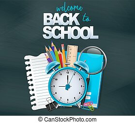 Welcome back to school design card. Vector illustration.