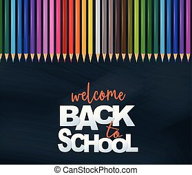 Welcome back to school design card with realistic colorful pencils. Vector illustration.