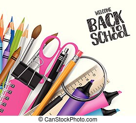 Welcome back to school design with realistic supplies. Vector illustration.