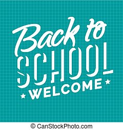 Welcome back to school emblem white color on checkered background. School shopping.