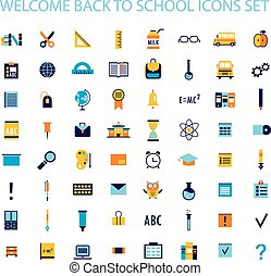 Welcome back to school icon set