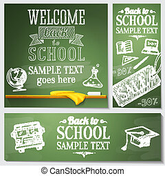 Welcome back to school messages on the chalkboard. Drawings - globe, notebook, book, graduation cap, bus, science bulb. Vector