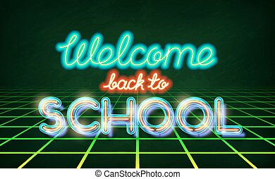 Welcome back to school retro neon