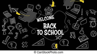 Welcome back to school text and School icons against graduations hats falling