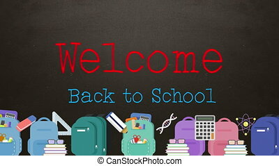 Welcome back to school text with schoolbags background