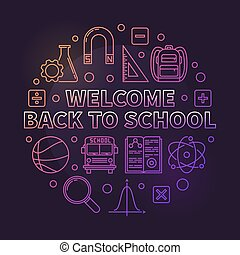 Welcome Back to School vector colored round line illustration