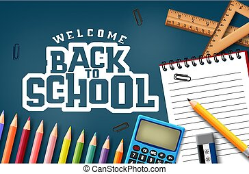 Welcome back to school vector concept design. Welcome back to school text in blue background.