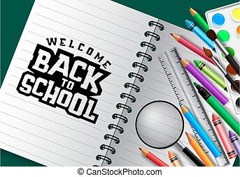 Welcome back to school vector concept design. Welcome back to school typography in blank paper space for text with school supplies and education element.