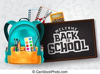 Welcome back to school vector concept design. Welcome back to school typography in chalkboard space for text with school supplies and education elements.