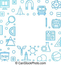 Welcome Back to School vector concept outline illustration