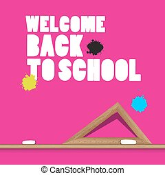 Welcome Back to School Vector Illustration with Ruler and Stains on Pink Background.