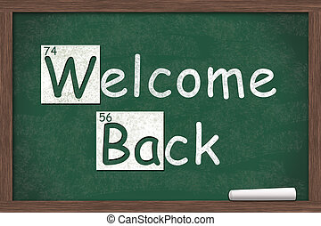 Welcome Back, Welcome Back written on a chalkboard with...
