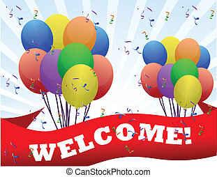 welcome banner and balloons illustration