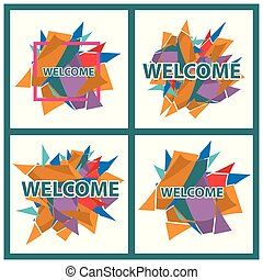 Welcome banner, Set stickers, card, and banner. flat design