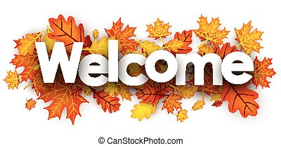 Welcome banner with orange leaves.