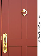 Welcome - Beautiful burgundy door closeup