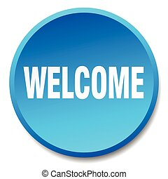 welcome blue round flat isolated push button