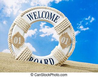 Welcome board on beach
