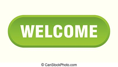 welcome button. welcome rounded green sign. welcome