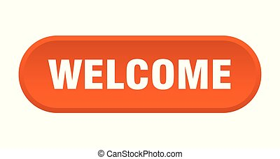 welcome button. welcome rounded orange sign. welcome