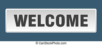 welcome button. welcome square white push button