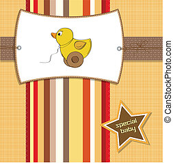 welcome card with duck toy