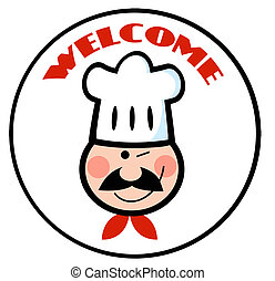 Welcome Chef Face Circle - Winked Chef Man Face Cartoon Logo...