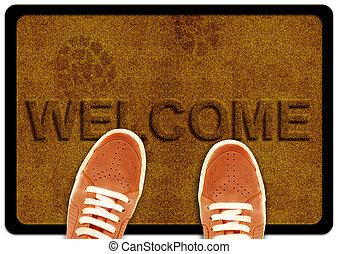 welcome cleaning foot carpet with shoeand shoe print on it.