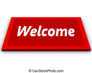 Welcome - Red rug with a salutatory word Welcome